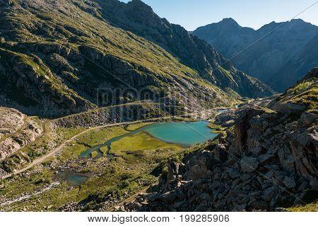 Green glacier lake. Brenta group above Madonna di Campiglio, Italy.