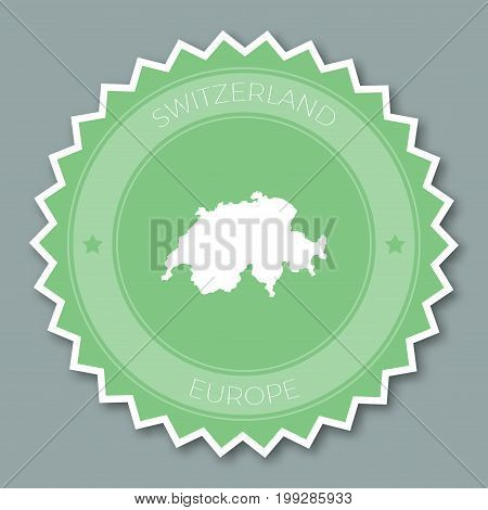 Switzerland Badge Flat Design. Round Flat Style Sticker Of Trendy Colors With Country Map And Name.