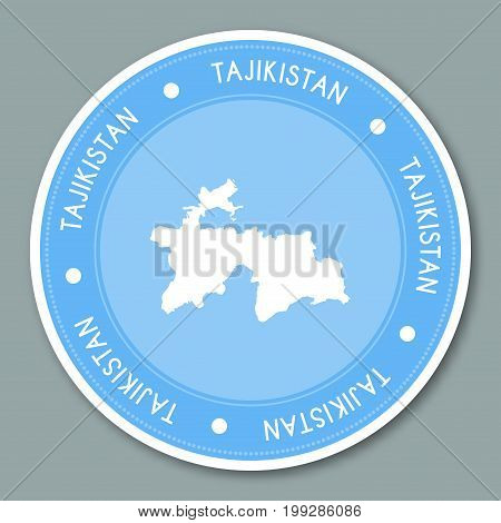 Tajikistan Label Flat Sticker Design. Patriotic Country Map Round Lable. Country Sticker Vector Illu