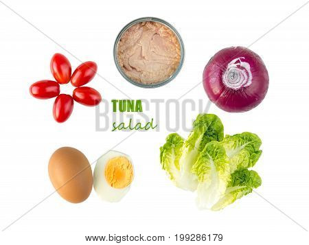 Tuna salad ingredients: lettuce leaves cherry tomatoes egg sweet onion and tuna can isolated on white