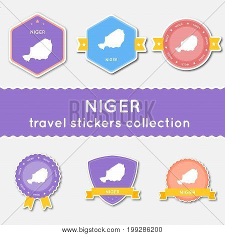 Niger Travel Stickers Collection. Big Set Of Stickers With Country Map And Name. Flat Material Style