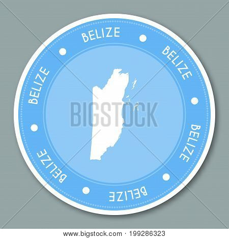 Belize Label Flat Sticker Design. Patriotic Country Map Round Lable. Country Sticker Vector Illustra