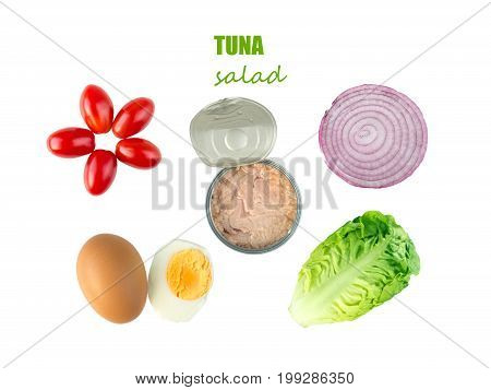 Tuna salad ingredients: baby cos lettuce head cherry tomatoes egg sweet onion cross section and open tuna can isolated on white