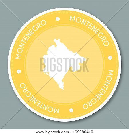 Montenegro Label Flat Sticker Design. Patriotic Country Map Round Lable. Country Sticker Vector Illu