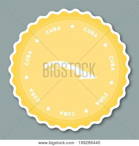 Cuba Sticker Flat Design. Round Flat Style Badges Of Trendy Colors With Country Map And Name. Countr