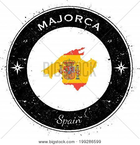 Majorca Circular Patriotic Badge. Grunge Rubber Stamp With Island Flag, Map And Name Written Along C