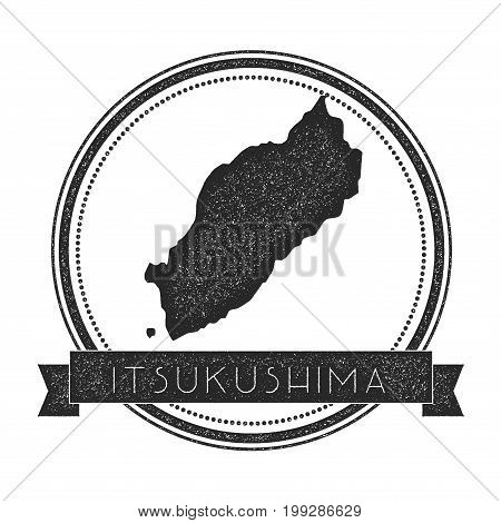 Itsukushima Map Stamp. Retro Distressed Insignia. Hipster Round Badge With Text Banner. Island Vecto