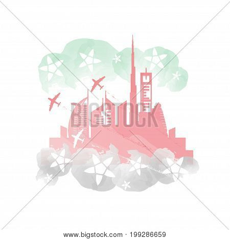 Dubai cityscape with skyscrapers and landmarks and planes performing aerobatics in UAE flag colors vector illustration