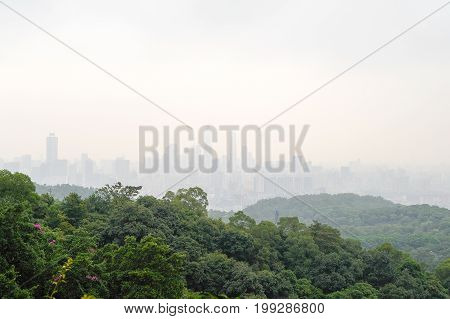 Guangzhou cityscape from the Bayun mountain viewpoint