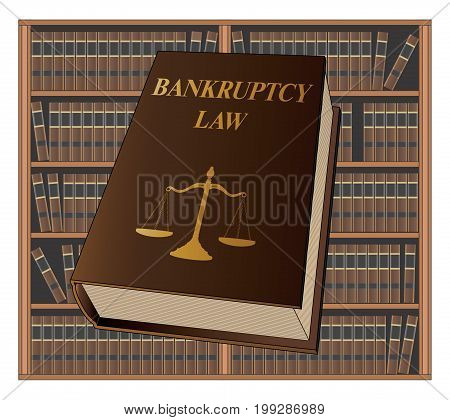Bankruptcy Law is an illustration of a bankruptcy law book used by lawyers and judges. Represents legal matters and legal proceedings.