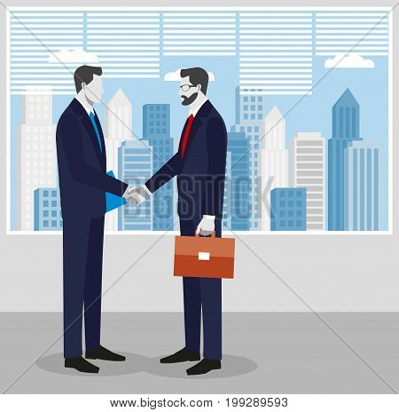 Two businessmen in suits shaking hands. to sign a contract . The concept of a successful transaction.