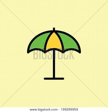 Parasol, Umbrella Icon Thin Line On Color Background