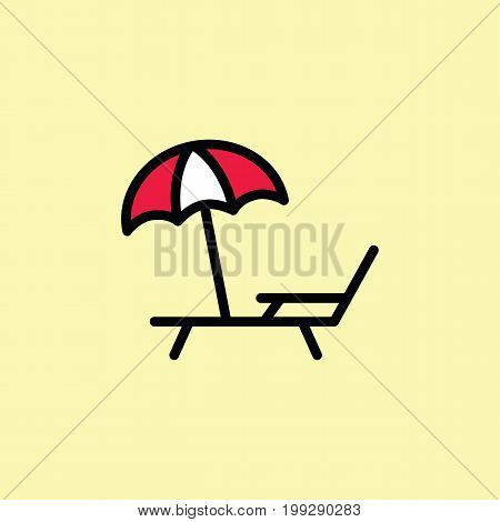 Deckchair With Umbrella Icon Thin Line Color
