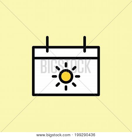 Vacation Calendar Icon Thin Line On Color Background