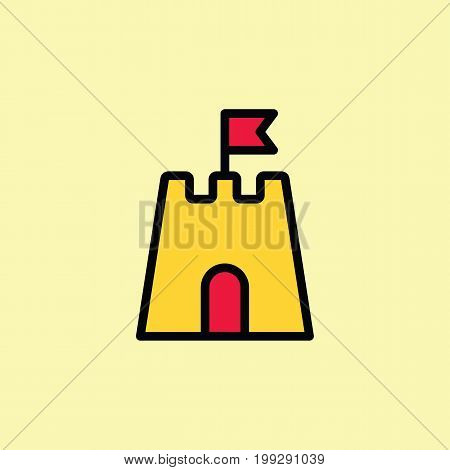 Sandcastle Icon Thin Line On Color Background