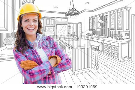 Female Construction Worker With Hard Hat, Gloves and Goggles In Front of Custom Kitchen Drawing