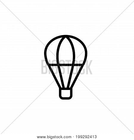 Hot Air Balloon Icon Thin Line Black On White Background