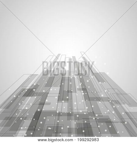 Abstract gray rectangles technology background, stock vector