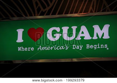 GUAM, USA--Photo taken in December 2016 of a big green, red and white sign stating