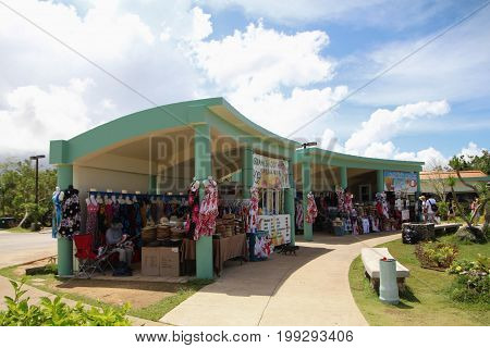 GUAM, USA--Souvenir shop selling island shirts, hats, dresses and other items inside the Two Lover's Point, a top attraction on Guam in a photo taken in December 2016.