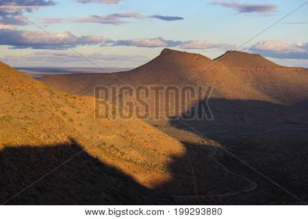 Landscape of sunset in the Karoo National Park - South Africa