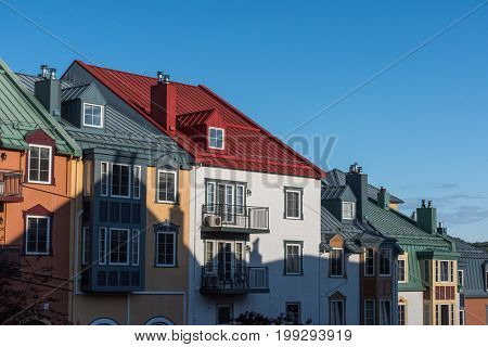 The colorful house of the city of Mont-Tremblant - Canada