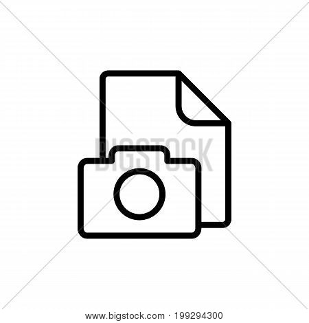 Line Photo File, Gallery Icon On White Background
