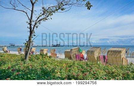 Beach and Pier of Kellenhusen near Groemitz at baltic Sea,Schleswig-Holstein,Germany