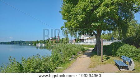 Promenade at Lake Grosser Ploener See in Ploen,Holstein Switzerland,Schleswig-Holstein,Germany