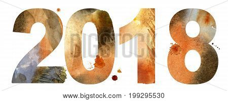New year 2018 watercolor number isolated on the white background