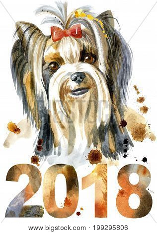 Dog yorkie on white background. Hand drawn sweet pet illustration. Symbol of the year 2018