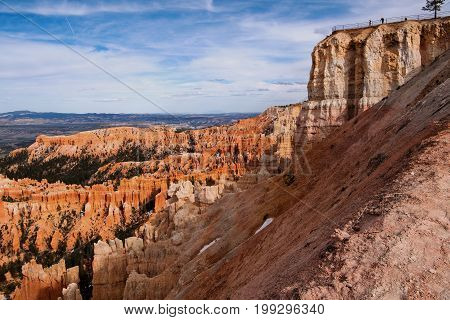 View from the rim trail at the Inspiration Point amphitheater in Bryce Canyon National Park Utah USA
