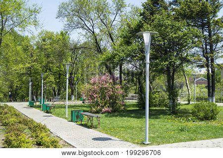 Nakhodka City square in a summer sunny day