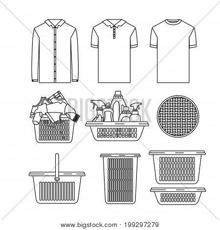 white background of silhouette set elements of laundry and cleaning items with clothes and plastic basins vector illustration