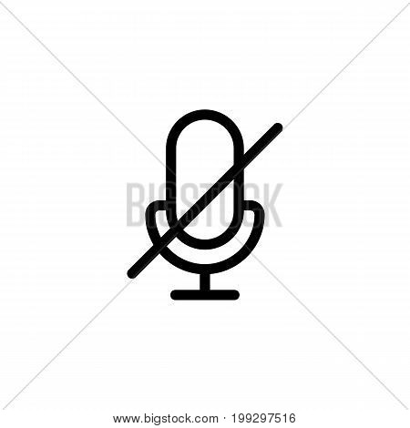 Line Microphone, Mic Mute Icon On White Background