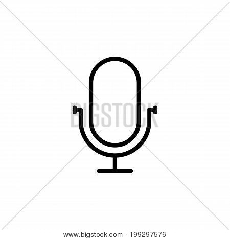Line Microphone, Mic Icon On White Background
