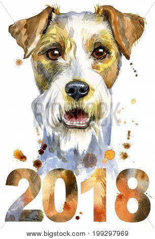 Cute Dog. Dog T-shirt graphics. watercolor airedale terrier illustration. Symbol of the year 2018