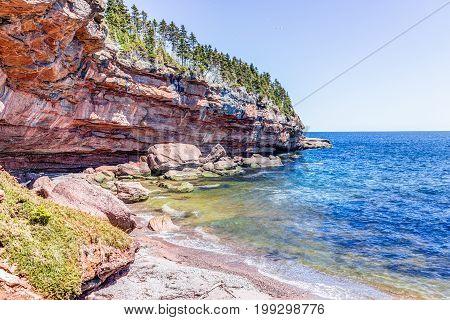 Cove beach in Bonaventure Island in Quebec Canada in Gaspe Gaspesie region with two grey seals