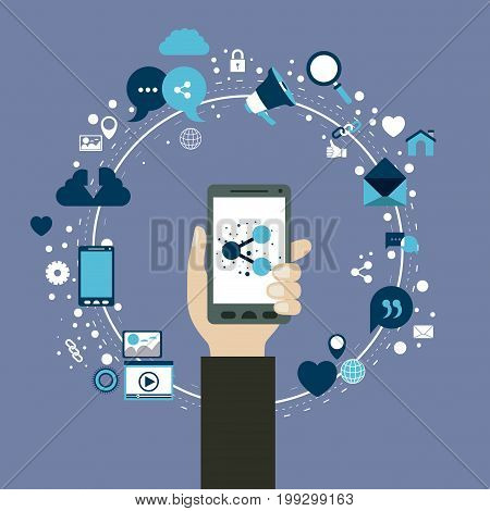 color background of circular frame of tech share icons and hand holding a smartphone device vector illustration