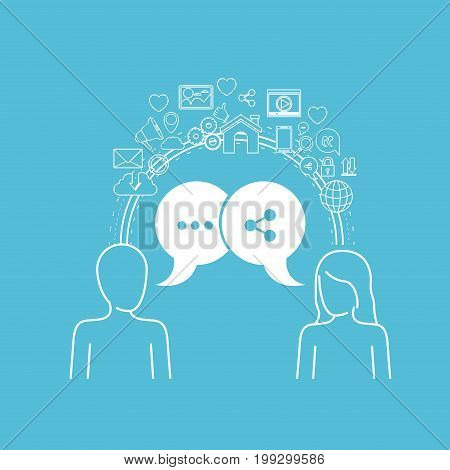 color background of circular frame of tech share icons and social people with dialog box vector illustration
