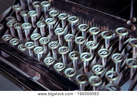 Cose up of old ancient vintage typewriter