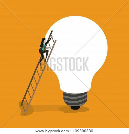 color background with businesswoman climbing wooden stairs in a big light bulb vector illustration