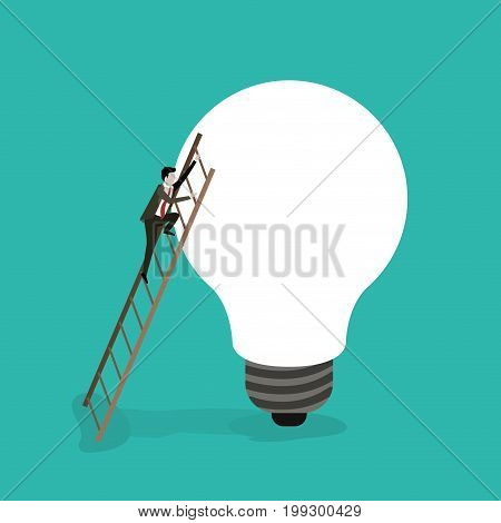 color background with businessman climbing wooden stairs in a big light bulb vector illustration