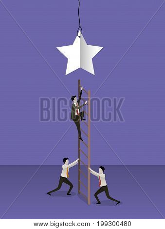 color background with businessman climbing wooden stairs to reach a star vector illustration