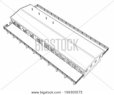 Wire-frame industrial building on the white background. Vector rendering of 3d. Wire-frame style