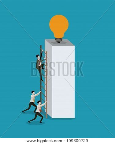 color background with businessmen climbing wooden stairs in a big rectangular block with light bulb in the top vector illustration