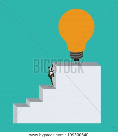 color background with businessman climbing stair block structure with light bulb in the top vector illustration