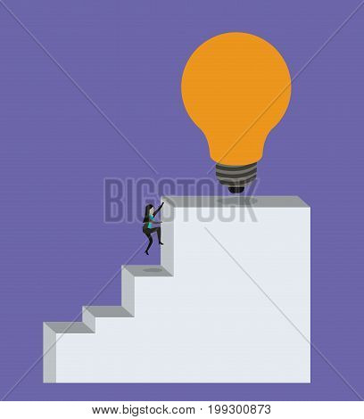 color background with businesswoman climbing stair block structure with light bulb in the top vector illustration