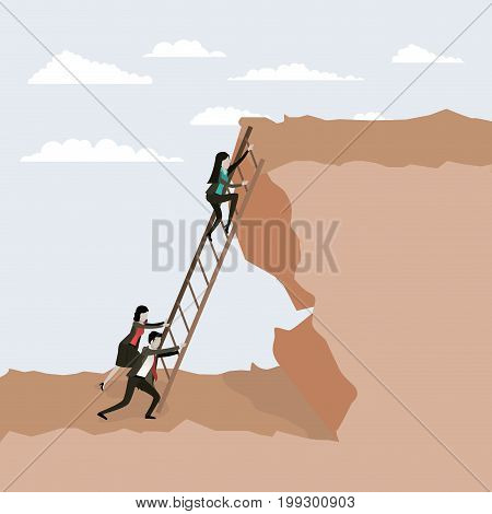color scene rock landscape with business people trying to climb stairs to the top vector illustration
