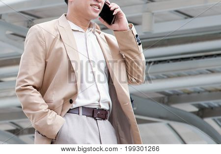 businessman using the mobile phone use for business and conference or seminar background.
